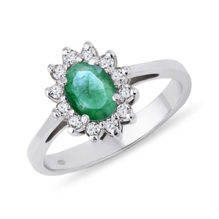 EMERALD AND DIAMOND RING IN 14KT WHITE GOLD - ENGAGEMENT HALO RINGS - ENGAGEMENT RINGS