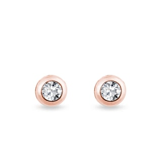 Boucles d'oreilles diamants et or rose
