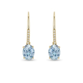 EARRINGS IN YELLOW GOLD WITH TOPAZ AND DIAMONDS - TOPAZ EARRINGS - EARRINGS