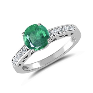 ENGAGEMENT RING WITH EMERALD AND DIAMONDS - GEMSTONE FINE JEWELLERY - FINE JEWELLERY