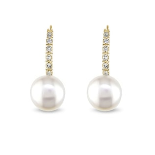 GOLD EARRINGS WITH DIAMONDS AND PEARLS - PEARL EARRINGS - PEARL JEWELRY
