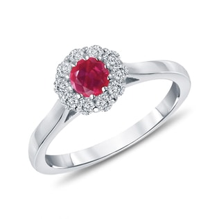 RUBY AND DIAMOND RING IN 14KT WHITE GOLD - ENGAGEMENT GEMSTONE RINGS - ENGAGEMENT RINGS