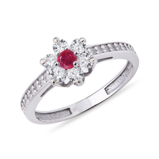 GOLD DIAMOND RING SHAPED FLOWERS WITH RUBY - DIAMOND RINGS - RINGS