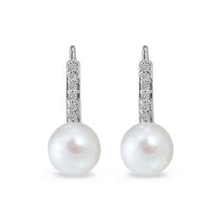 WHITE PEARL EARRINGS IN 14KT GOLD - PEARL EARRINGS - PEARL JEWELLERY