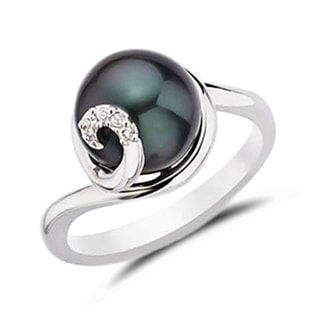 BLACK PEARL AND DIAMOND RING IN STERLING SILVER - PEARL RINGS - PEARL JEWELLERY