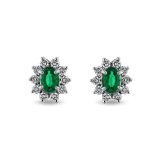 EMERALD AND DIAMOND EARRINGS IN 18KT GOLD - EMERALD EARRINGS - EARRINGS