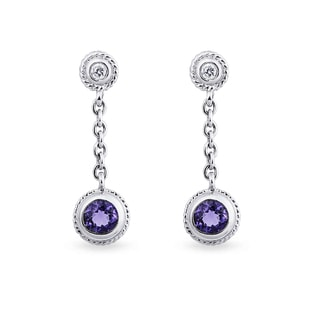 SILVER EARRINGS WITH AMETHYST AND CZ STONES - AMETHYST EARRINGS - EARRINGS