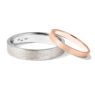 Wedding rings made of rose and white gold