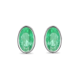 EMERALD EARRINGS IN STERLING SILVER - EMERALD EARRINGS - EARRINGS