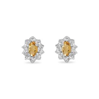 GOLD EARRINGS WITH CITRINE AND DIAMONDS - CITRINE QUARTZ EARRINGS - EARRINGS