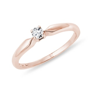 ROSE GOLD RING WITH A DIAMOND - SOLITAIRE ENGAGEMENT RINGS - ENGAGEMENT RINGS