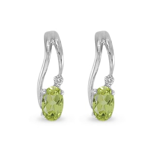 PERIDOT AND DIAMOND EARRINGS IN 14KT WHITE GOLD - WHITE GOLD EARRINGS - EARRINGS