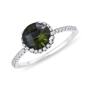GOLD RING WITH DIAMONDS AND MOLDAVITE - MOLDAVITE RINGS - RINGS
