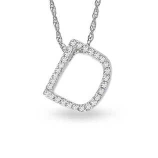 LETTER D DIAMOND PENDANT IN 14KT GOLD - DIAMOND PENDANTS - PENDANTS