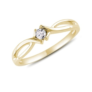 YELLOW GOLD RING WITH A DIAMOND - DIAMOND RINGS - RINGS