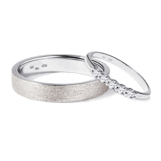 WEDDING RINGS OF WHITE GOLD WITH DIAMONDS - DIAMOND WEDDING RINGS - WEDDING RINGS