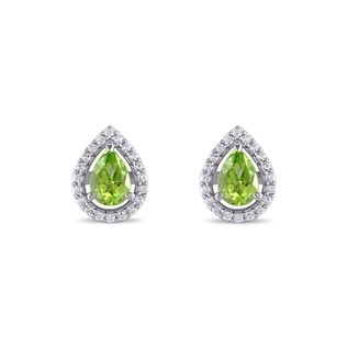 SAPPHIRE AND PERIDOT EARRINGS IN SILVER - STERLING SILVER FINE JEWELRY - FINE JEWELRY