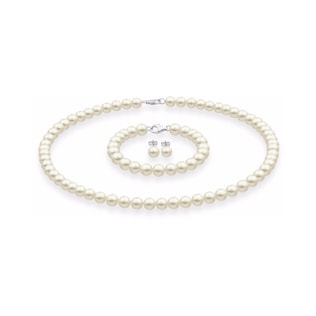 PEARL SET: NECKLACE, BRACELET AND EARRINGS - PEARL SETS - PEARL JEWELLERY