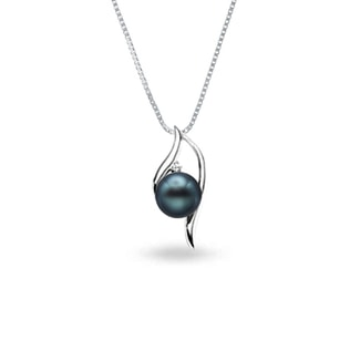 GOLD NECKLACE WITH A TAHITIAN PEARL AND DIAMOND - PEARL PENDANTS - PEARL JEWELRY