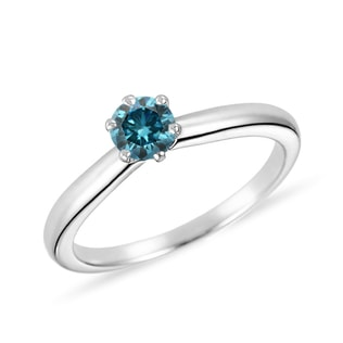 BLUE DIAMOND RING IN 14KT GOLD - FANCY DIAMOND ENGAGEMENT RINGS - ENGAGEMENT RINGS