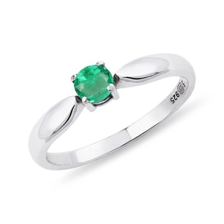 SILVER RING WITH AN EMERALD - EMERALD RINGS - RINGS