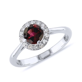 GARNET AND DIAMOND RING IN STERLING SILVER - ENGAGEMENT HALO RINGS - ENGAGEMENT RINGS