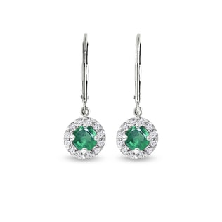 EARRINGS IN WHITE GOLD WITH EMERALDS AND DIAMONDS - EMERALD EARRINGS - EARRINGS