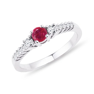 RUBY AND DIAMOND RING IN 14KT GOLD - ENGAGEMENT GEMSTONE RINGS - ENGAGEMENT RINGS