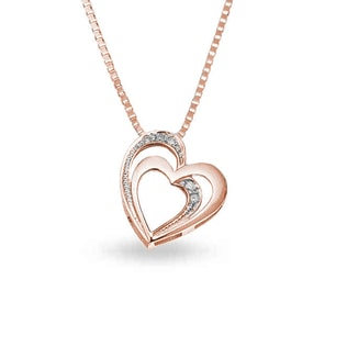 ROSE GOLD HEART PENDANT WITH DIAMONDS - HEART PENDANTS - PENDANTS