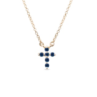 GOLD CROSS WITH SAPPHIRES - CROSS PENDANTS - PENDANTS