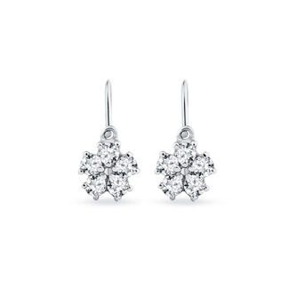 CHILDREN EARRINGS WITH CZ STONES FLOWER - WHITE GOLD EARRINGS - EARRINGS
