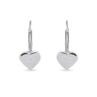 MATTE HEART-SHAPED EARRINGS IN WHITE GOLD - WHITE GOLD EARRINGS - EARRINGS