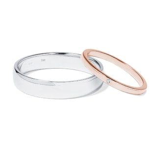 GOLD WEDDING RINGS WITH DIAMONDS - COMBINED RINGS - WEDDING RINGS