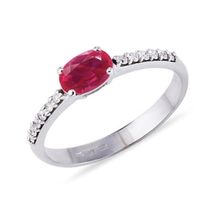 RUBY RING WITH DIAMONDS IN WHITE GOLD - RUBY RINGS - RINGS