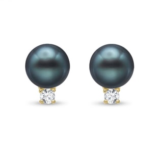 TAHITIAN PEARL AND DIAMOND EARRINGS IN 14KT GOLD - PEARL EARRINGS - PEARL JEWELRY