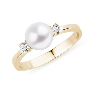 AKOYA PEARL AND DIAMOND 14KT GOLD RING - PEARL RINGS - PEARL JEWELLERY