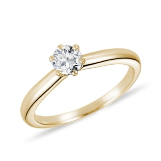 GOLD ENGAGEMENT RING WITH DIAMOND - SOLITAIRE ENGAGEMENT RINGS - ENGAGEMENT RINGS