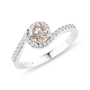 DIAMOND RING IN WHITE GOLD - FANCY DIAMOND ENGAGEMENT RINGS - ENGAGEMENT RINGS