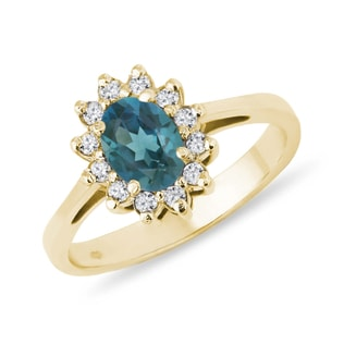 LONDON TOPAZ RING WITH DIAMOND - ENGAGEMENT HALO RINGS - ENGAGEMENT RINGS