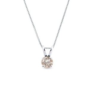 GOLD PENDANT WITH CHAMPAGNE DIAMOND - DIAMOND PENDANTS - PENDANTS