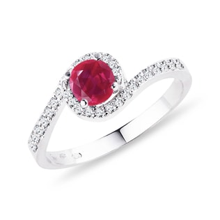 GOLD DIAMOND RING WITH RUBY - ENGAGEMENT GEMSTONE RINGS - ENGAGEMENT RINGS