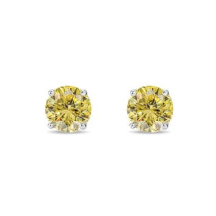 DIAMANT-OHRRINGE MIT GELBEN DIAMANTEN, 14 KT GOLD - OHRSTECKER DIAMANT - OHRRINGE
