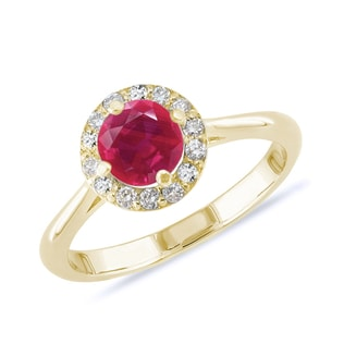 GOLD RING WITH RUBY ​​AND DIAMONDS - ENGAGEMENT GEMSTONE RINGS - ENGAGEMENT RINGS