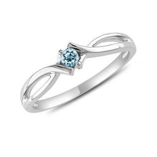 TOPAZ RING IN 14KT WHITE GOLD - ENGAGEMENT GEMSTONE RINGS - ENGAGEMENT RINGS