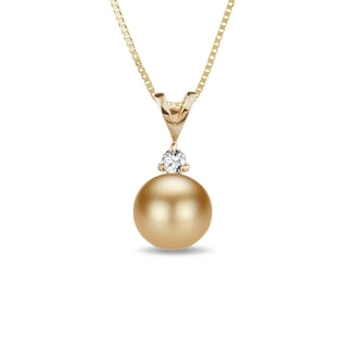 GOLD PENDANT WITH A PEARL AND A DIAMOND - PEARL PENDANTS - PEARL JEWELRY