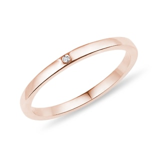 ROSE GOLD WEDDING RING WITH A DIAMOND - RINGS FOR HER - WEDDING RINGS