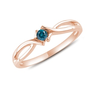 GOLD RING WITH A BLUE DIAMOND - DIAMOND RINGS - RINGS
