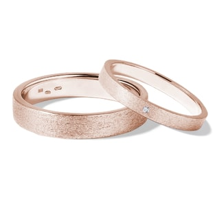 DIAMOND WEDDING RINGS IN 14KT ROSE GOLD - DIAMOND WEDDING RINGS - WEDDING RINGS