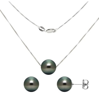 TAHITIAN PEARL SET IN WHITE GOLD - PEARL SETS - PEARL JEWELRY