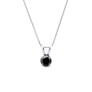 WHITE GOLD PENDANT WITH BLACK DIAMOND - DIAMOND PENDANTS - PENDANTS